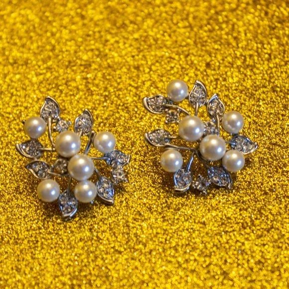 Rhinestone and simulated pearl earrings